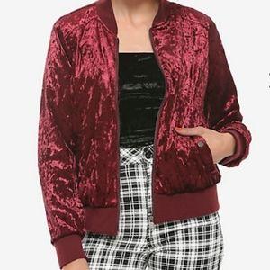 Burgundy Red Velvet Bomber Jacket
